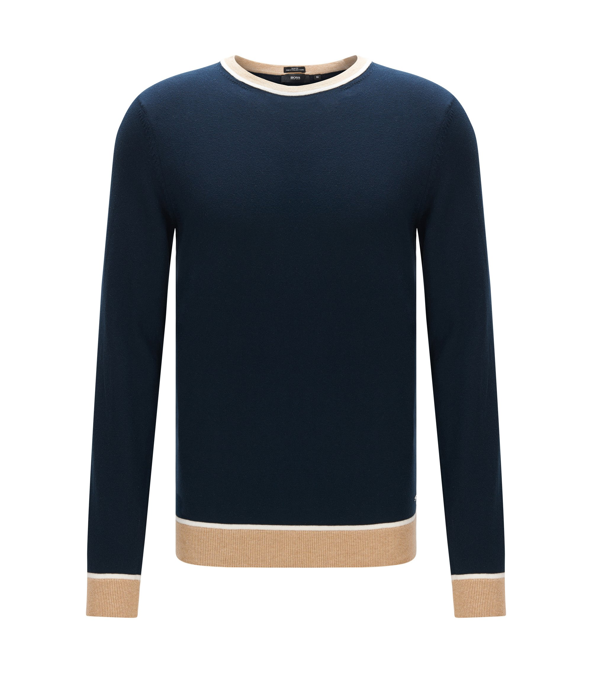 Colorblock Italian Cotton Sweater, Slim Fit | Marcelli, Dark Blue