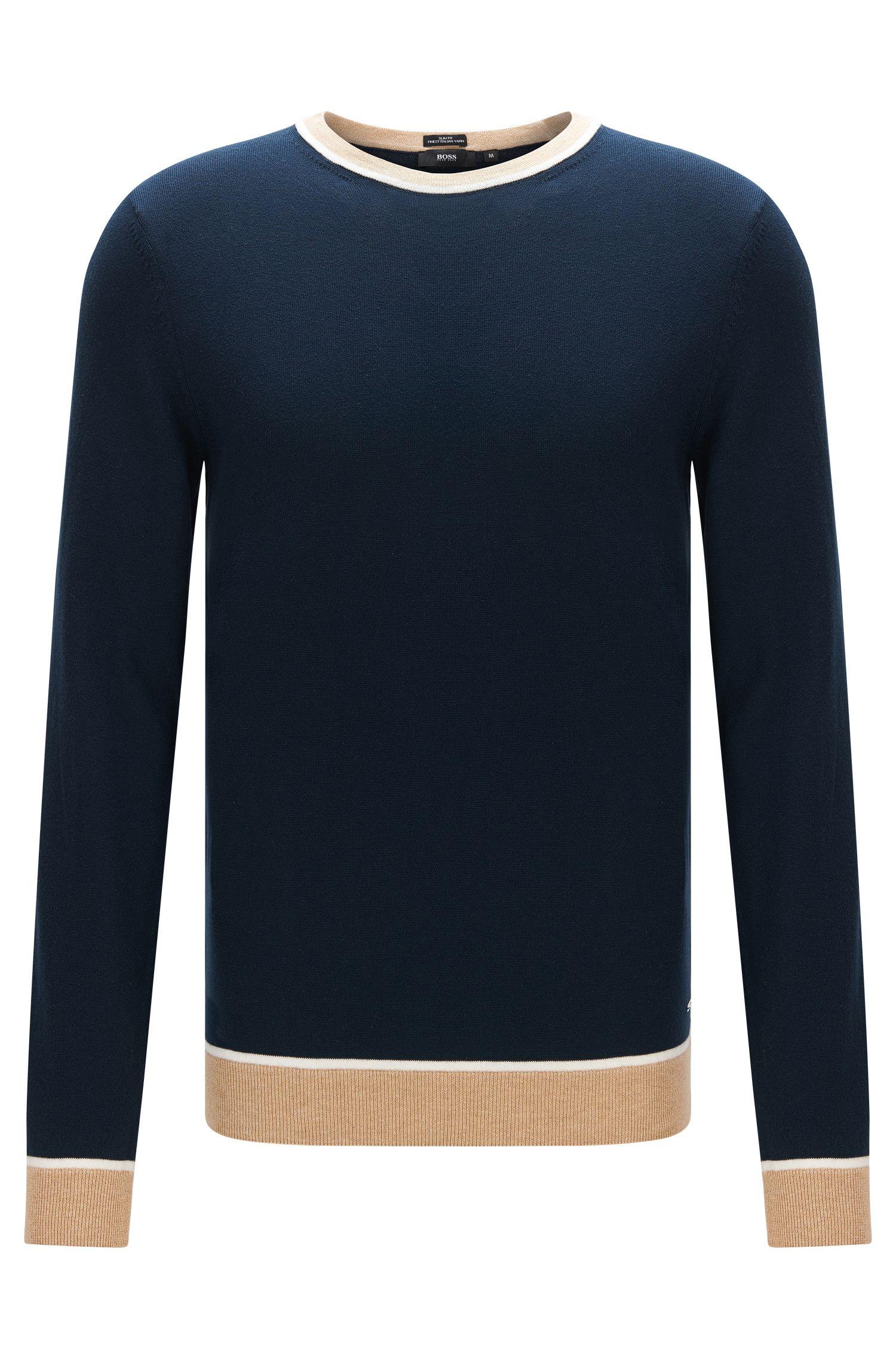Colorblock Italian Cotton Sweater, Slim Fit | Marcelli