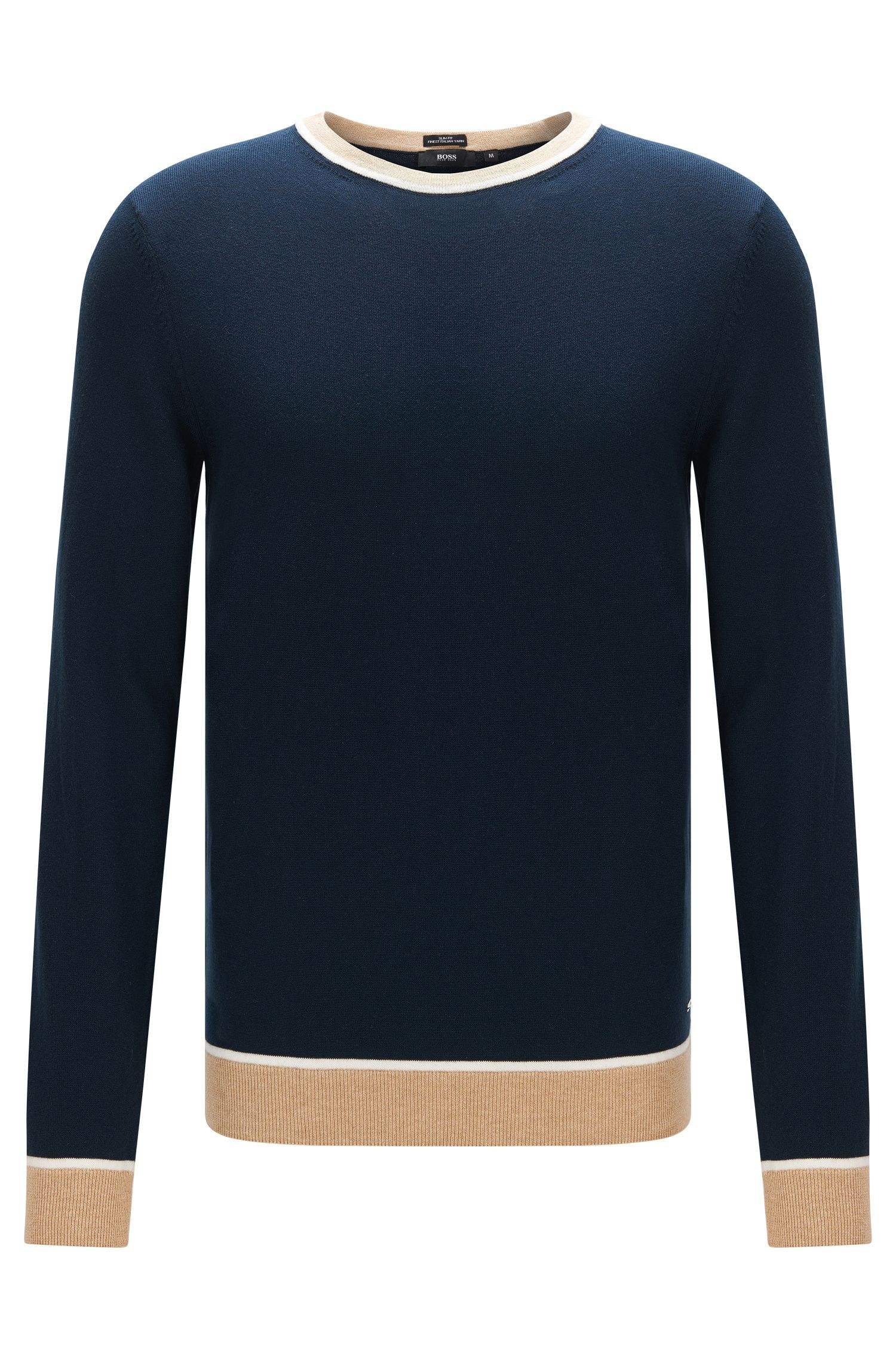 Colorblock Italian Cotton Sweater, Slim Fit | Marcelli