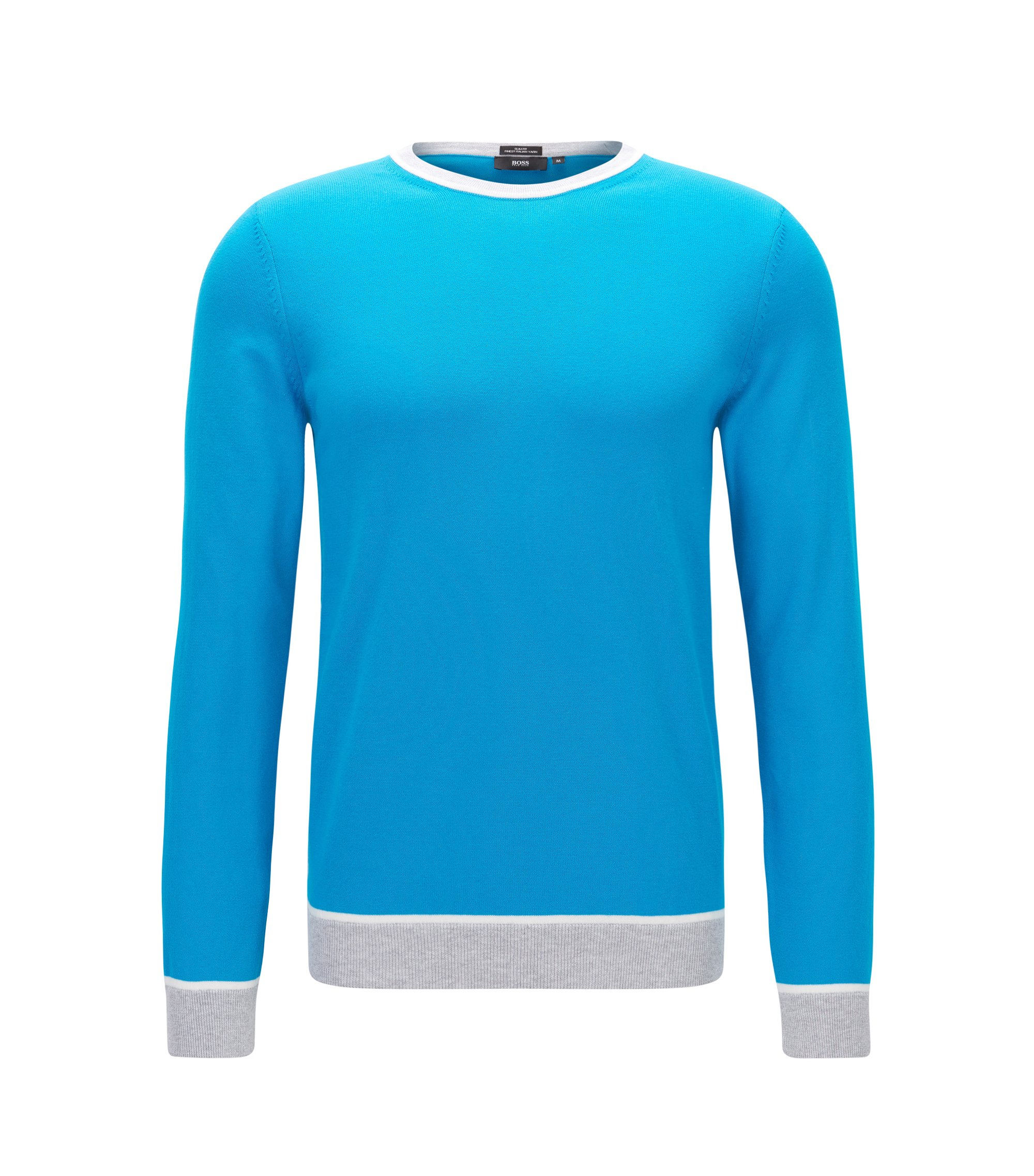 Colorblock Italian Cotton Sweater, Slim Fit | Marcelli, Light Blue