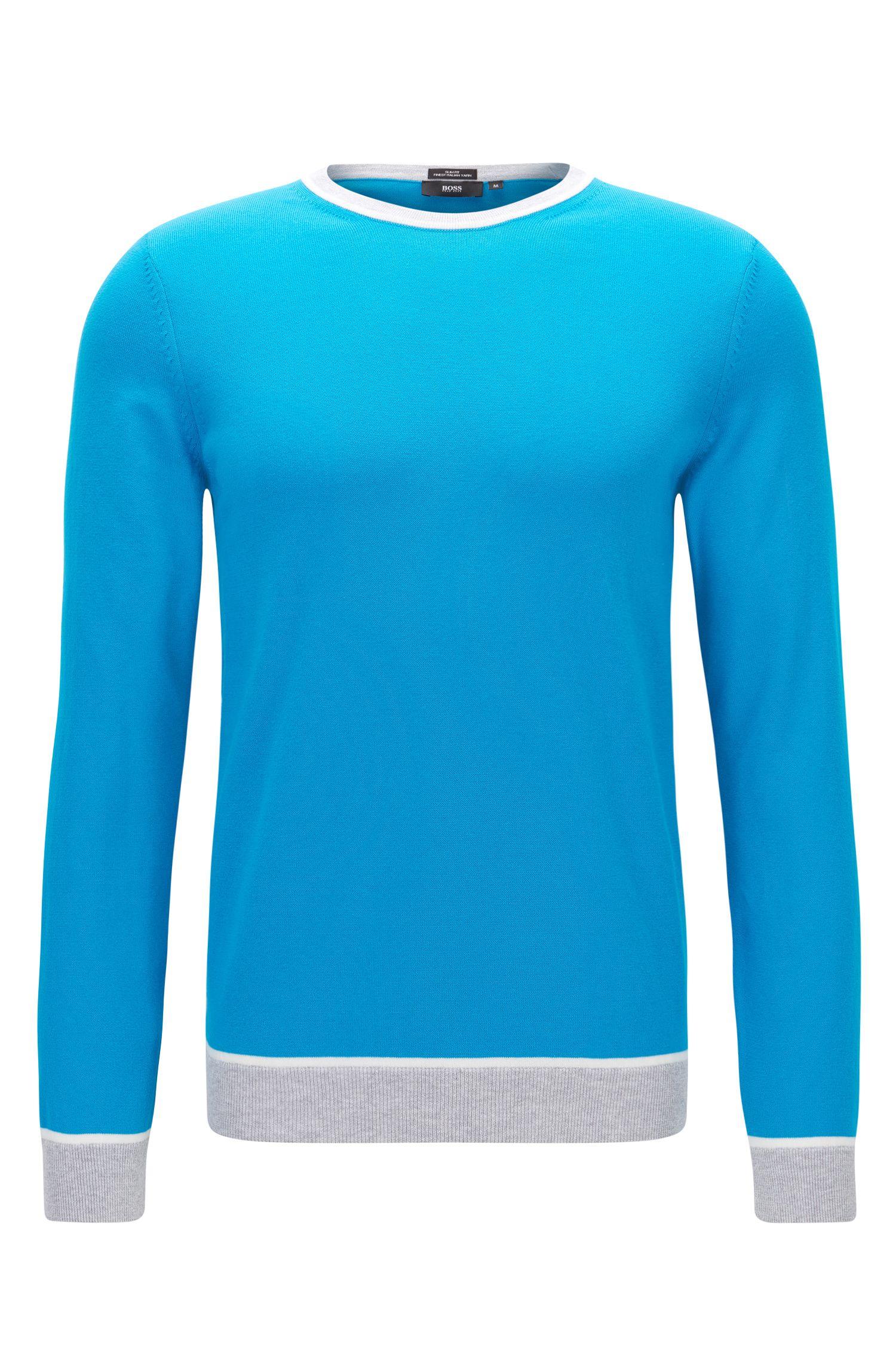 Colorblock Italian Cotton Sweater, Slim Fit   Marcelli