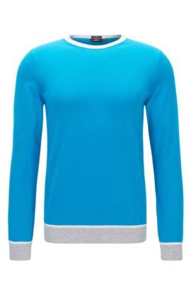 Colorblock Italian Cotton Sweater, Slim Fit | Marcelli, Light Blue