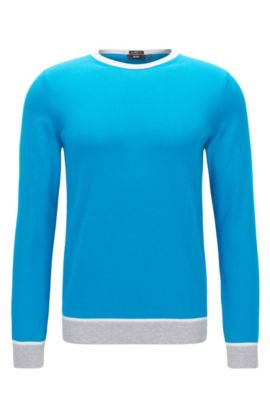 'Marcelli' | Slim Fit, Colorblock Italian Cotton Sweater, Light Blue