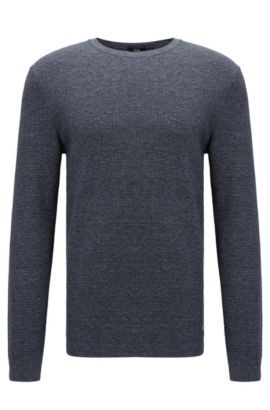 'Mustino' | Knit Cotton Sweater, Dark Blue