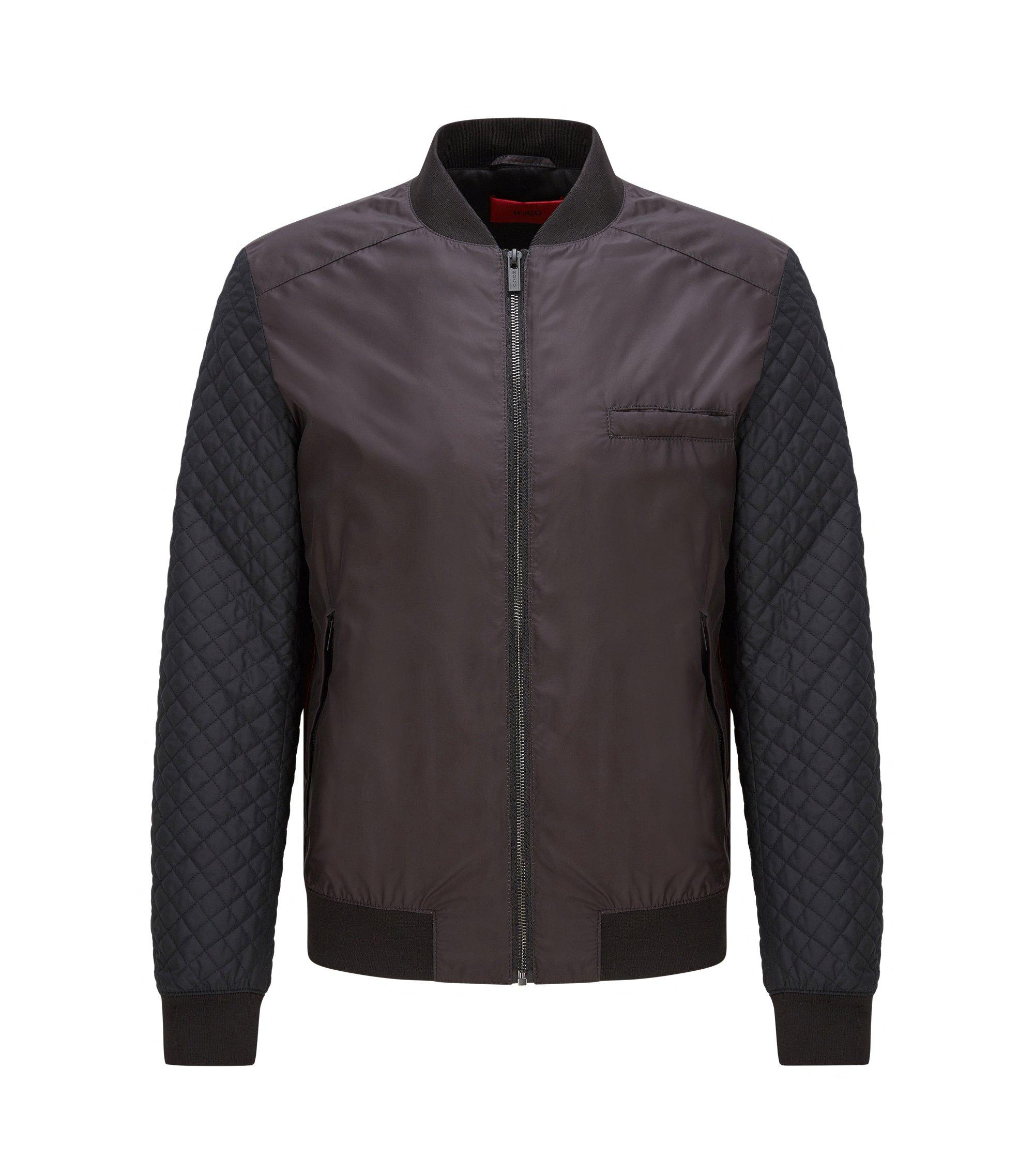 Quilted Nylon Bomber Jacket | Belko Print, Black