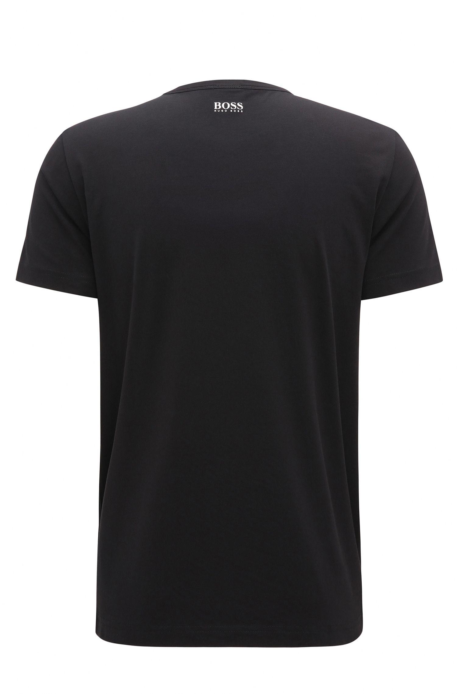 Logo-Print Stretch Cotton Graphic T-Shirt | Tee, Black