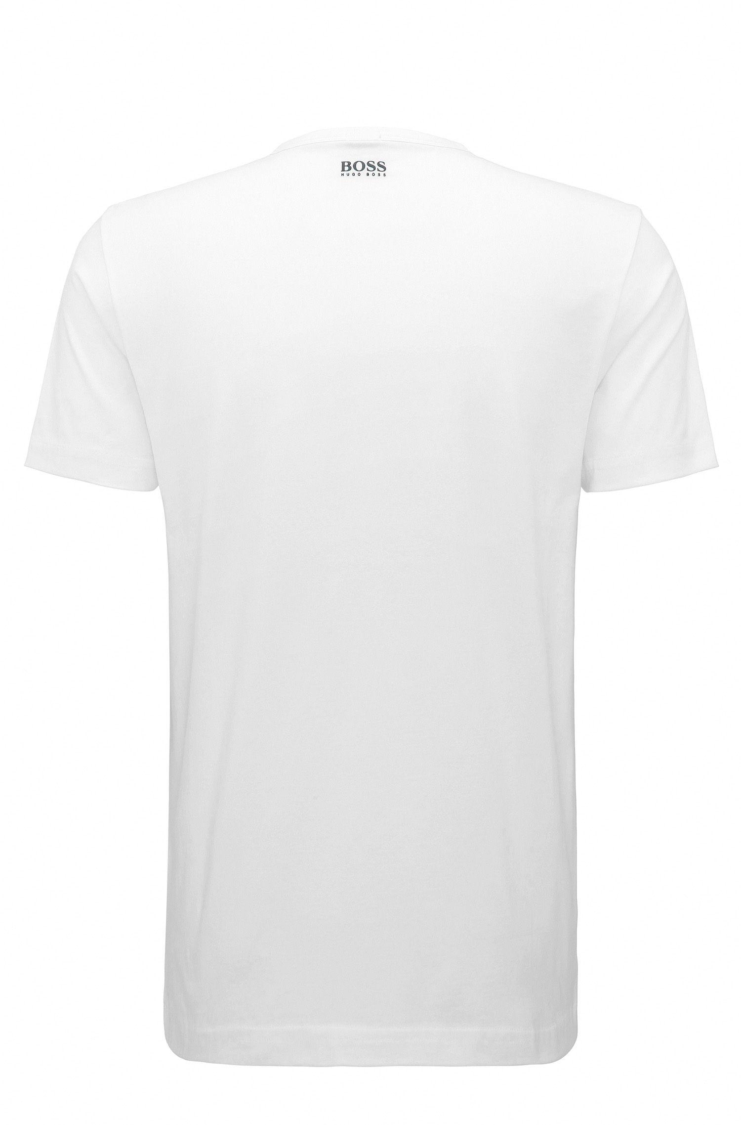 Logo-Print Stretch Cotton Graphic T-Shirt | Tee, White