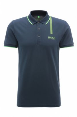 'Paule Pro' | Slim Fit, Stretch Cotton Graphic Polo, Dark Blue
