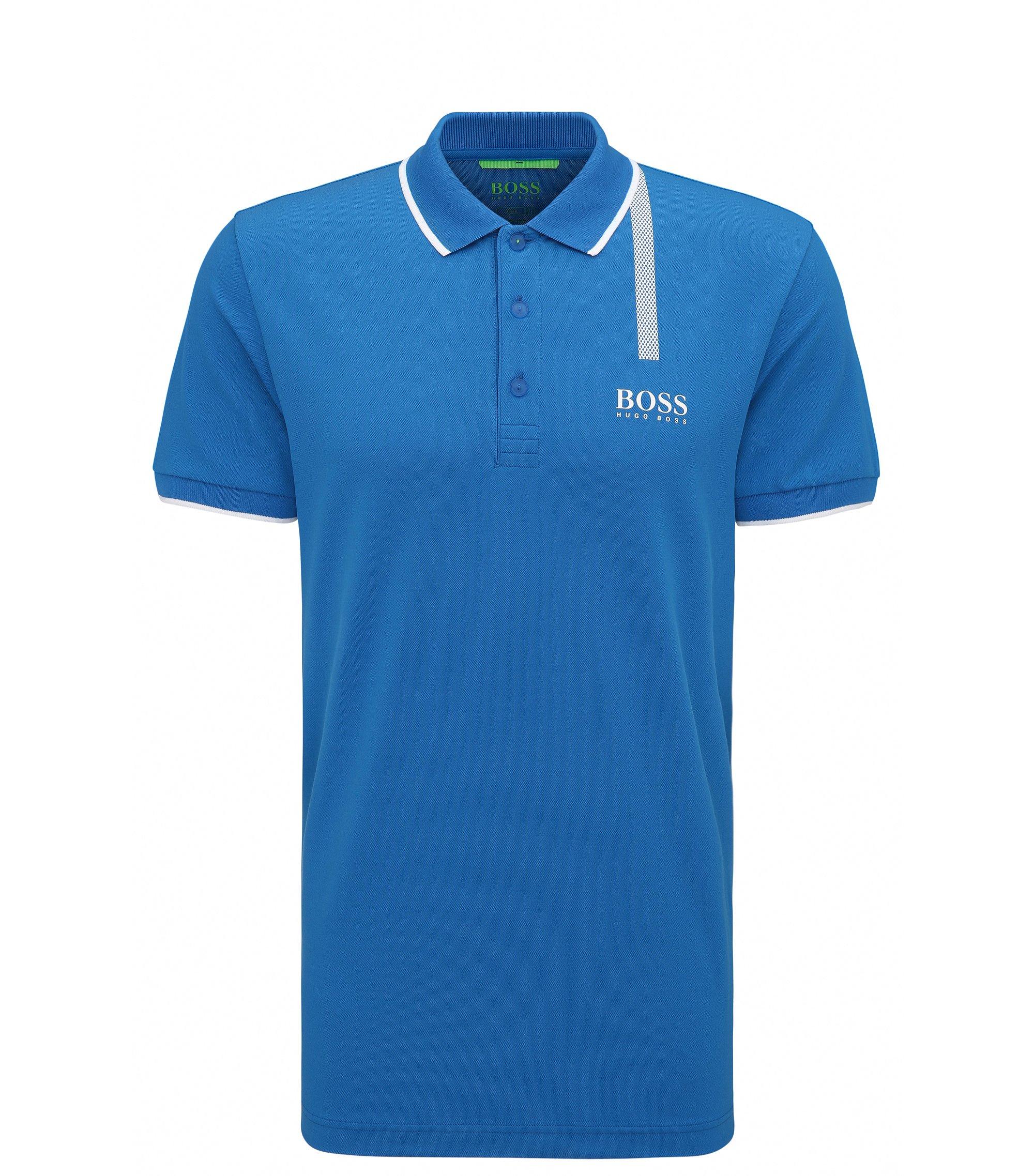 Stretch Cotton Graphic Polo, Slim Fit | Paule Pro, Open Blue