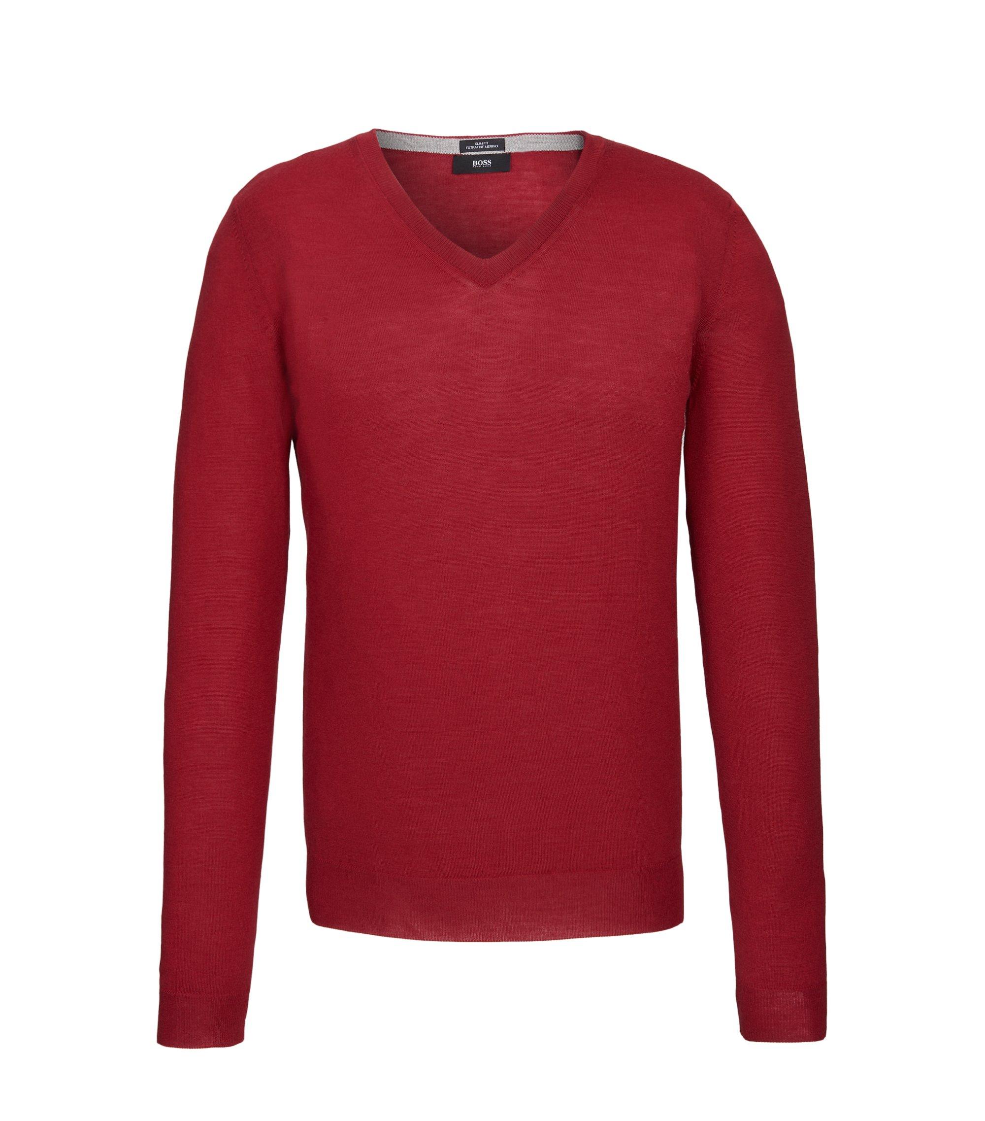 Extra-Fine Merino Wool Sweater, Slim Fit | Melba M, Red