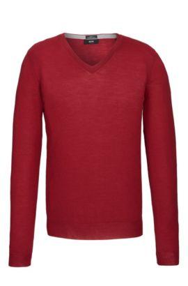 Extra Fine Merino Wool Sweater, Slim Fit | Melba M, Red