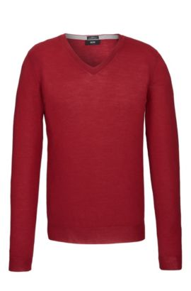 'Melba-M' | Slim Fit, Extra-Fine Virgin Merino Wool Sweater, Red