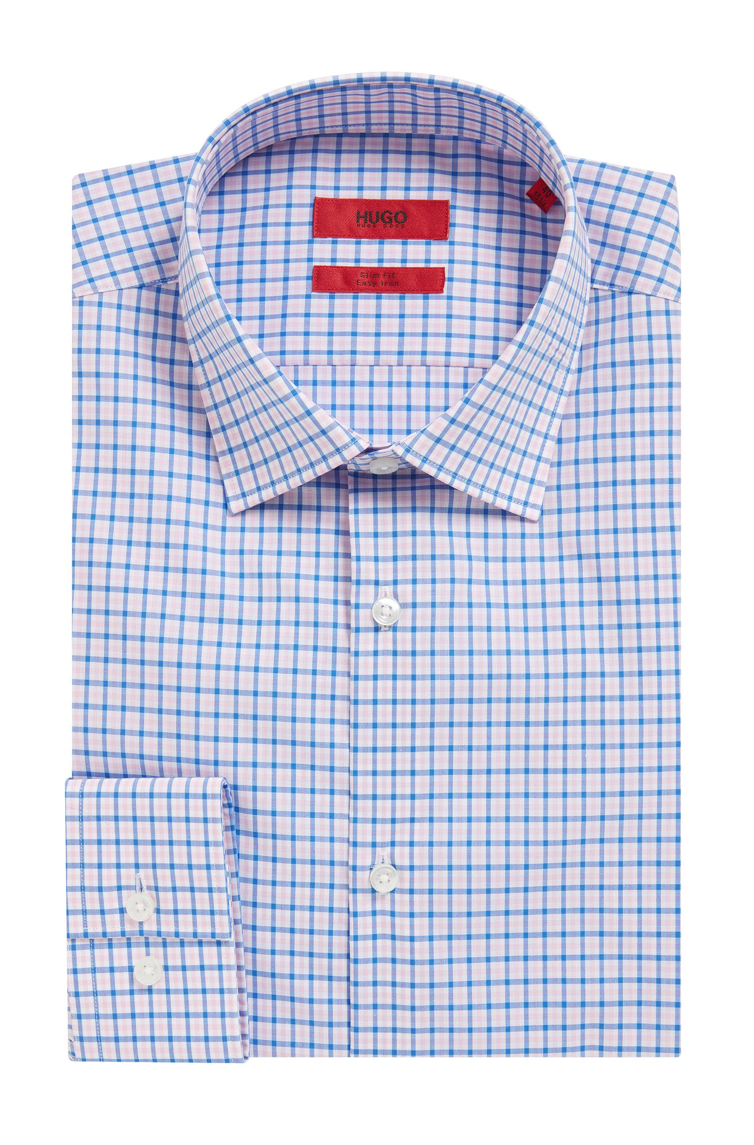 Checked Easy-Iron Cotton Dress Shirt, Slim Fit | C-Jenno
