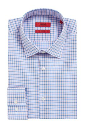 Checked Easy-Iron Cotton Dress Shirt, Slim Fit | C-Jenno, light pink