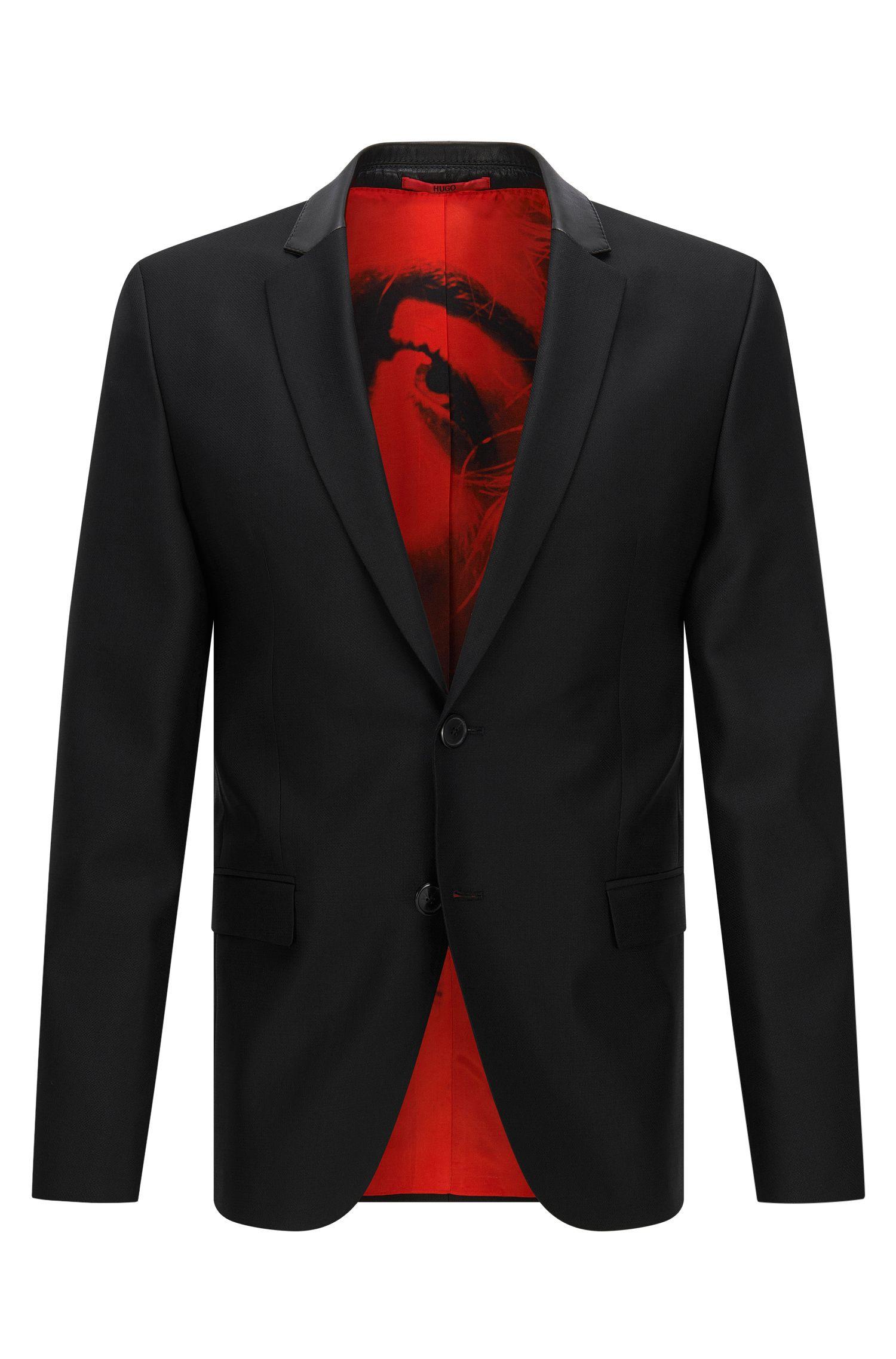 Vegan Leather Trim Virgin Wool Blend Sport Coat, Slim Fit | Awerd