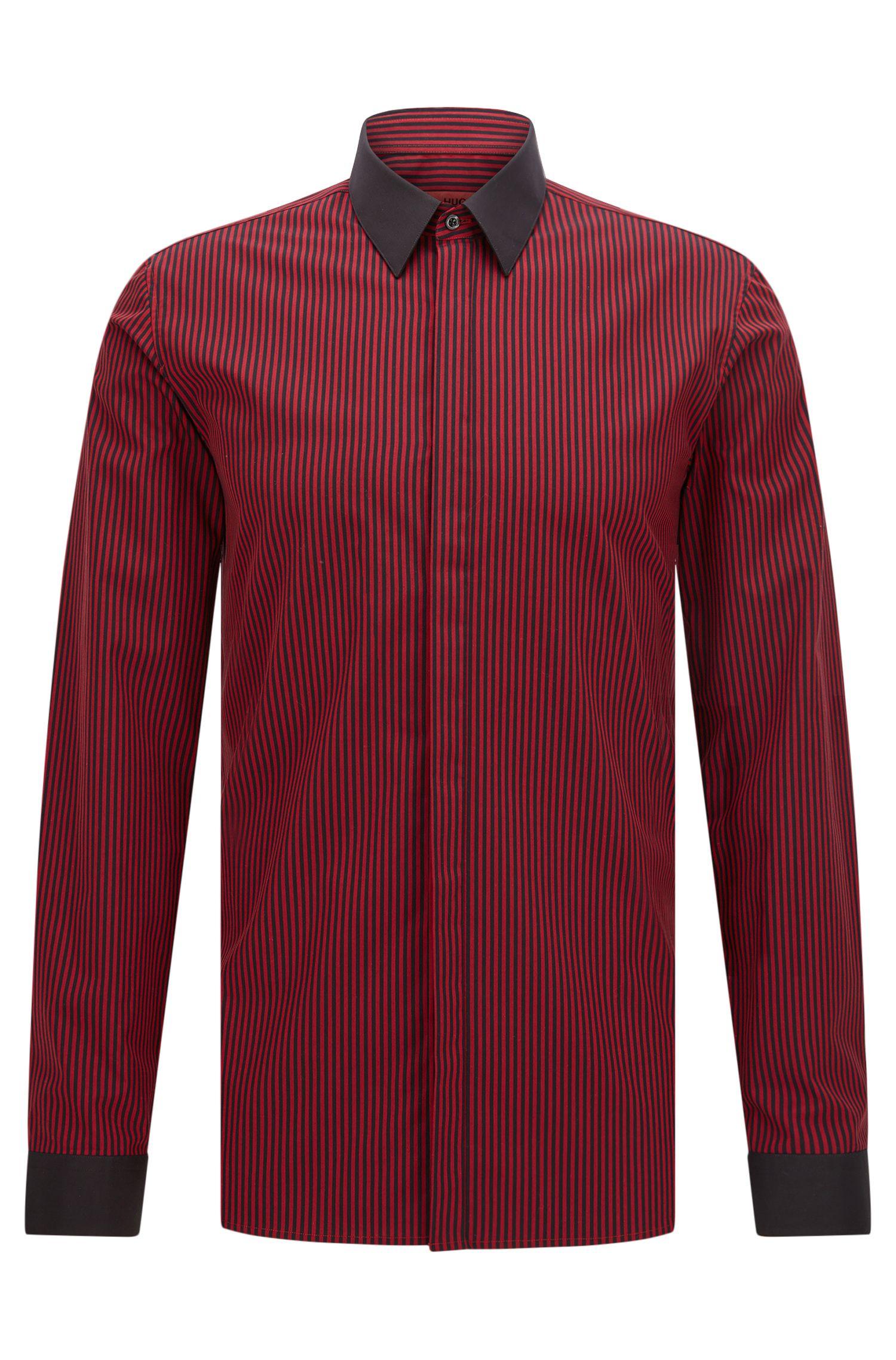 Striped Easy Iron Cotton Dress Shirt, Extra Slim Fit   Elynon