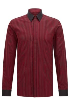 Striped Easy Iron Cotton Dress Shirt, Extra Slim Fit | Elynon, Red