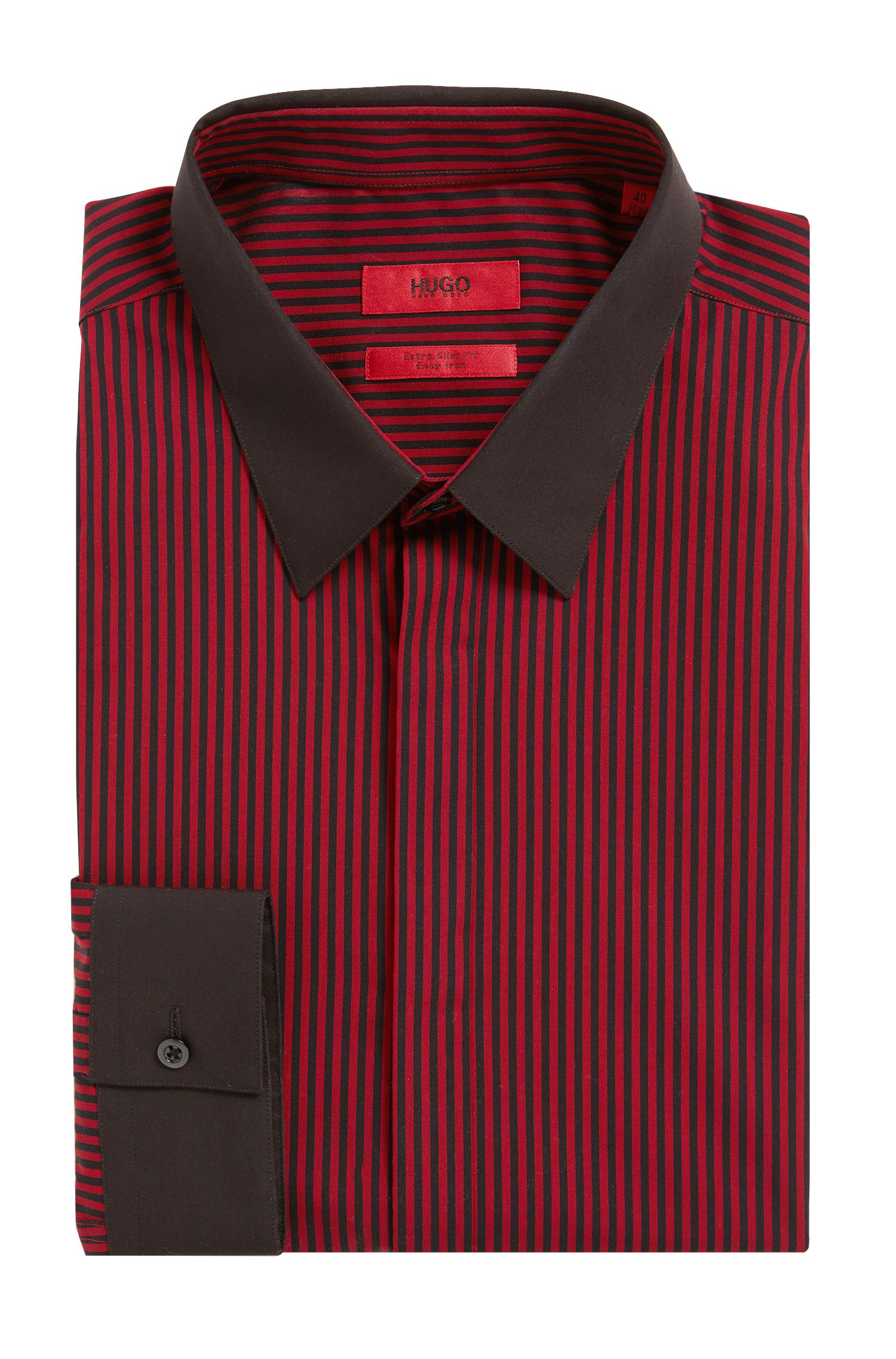 Striped Easy Iron Cotton Dress Shirt, Extra Slim Fit | Elynon