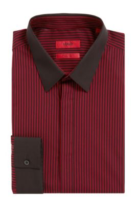 'Elynon' | Extra-Slim Fit, Striped Easy Iron Cotton Dress Shirt, Red