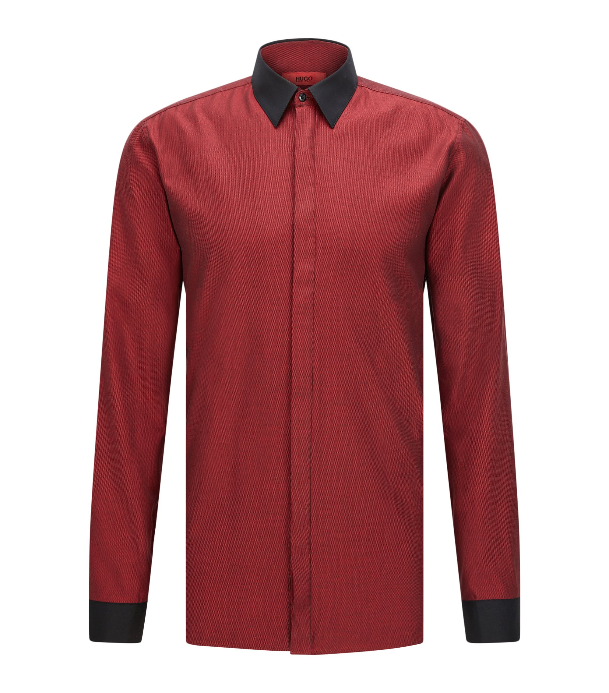 'Elisha' | Extra Slim Fit, Colorblock Easy Iron Cotton Dress Shirt, Red
