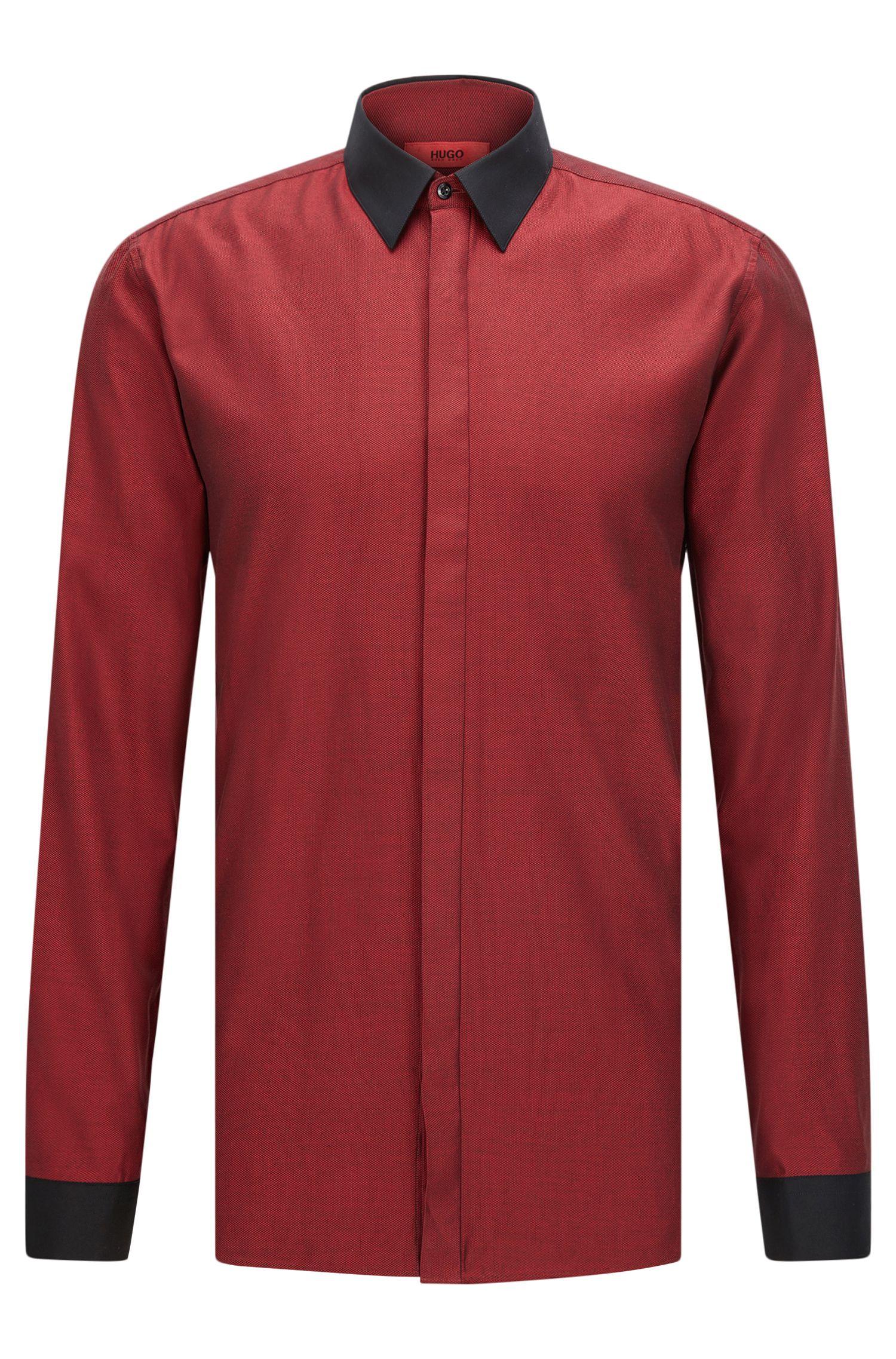 'Elisha' | Extra Slim Fit, Colorblock Easy Iron Cotton Dress Shirt