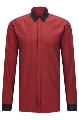 'Elisha' | Extra Slim Fit, Colorblock Easy Iron Cotton Dress Shirt, Red