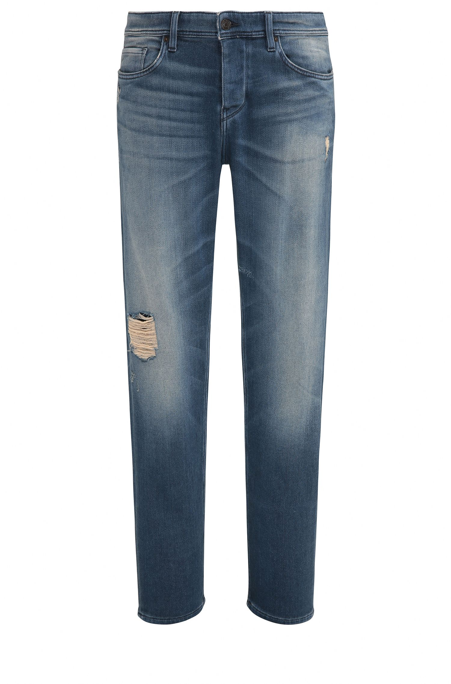 Distressed Stretch Cotton Jeans, Taper Fit   Orange90