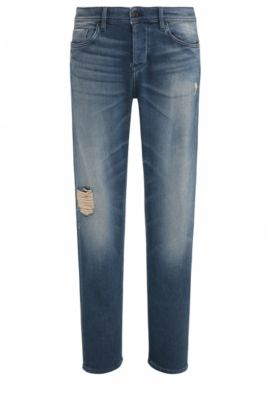 Distressed Stretch Cotton Jeans, Taper Fit | Orange90, Dark Blue