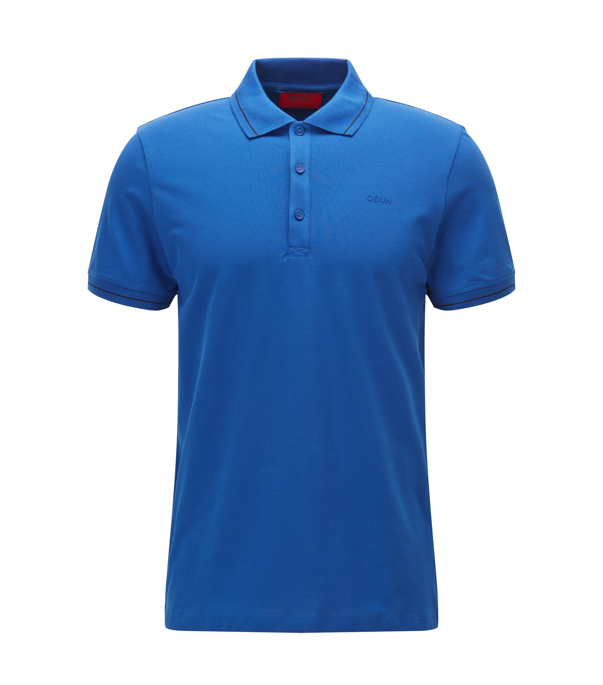 Stretch Cotton Polo, Slim Fit   Daymont, Open Blue