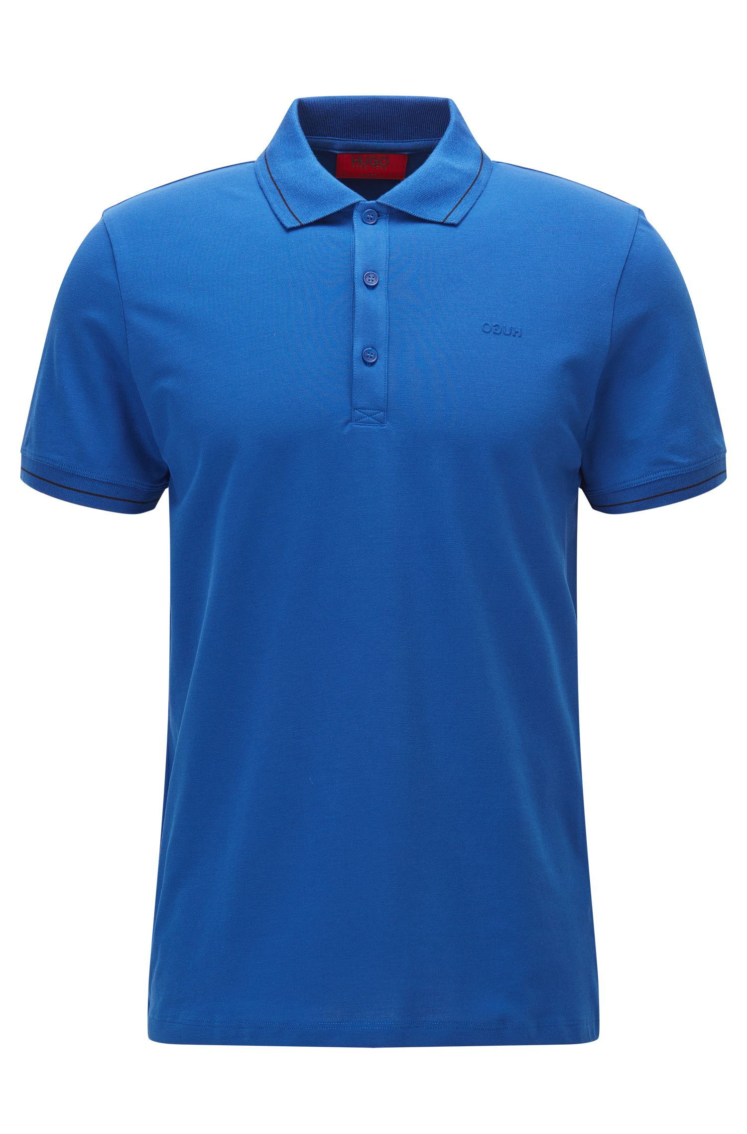 Stretch Cotton Polo, Slim Fit | Daymont, Open Blue