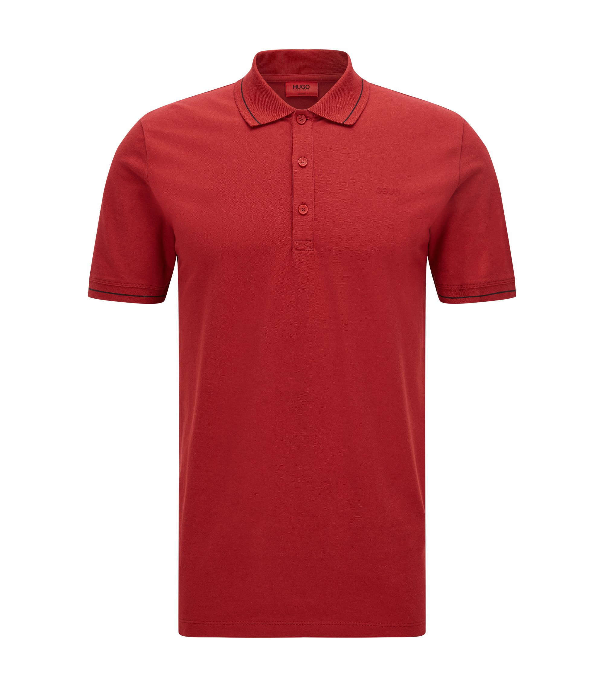 Stretch Cotton Polo, Slim Fit | Daymont, Dark Red