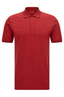 'Daymont' | Slim Fit, Stretch Cotton Polo, Dark Red