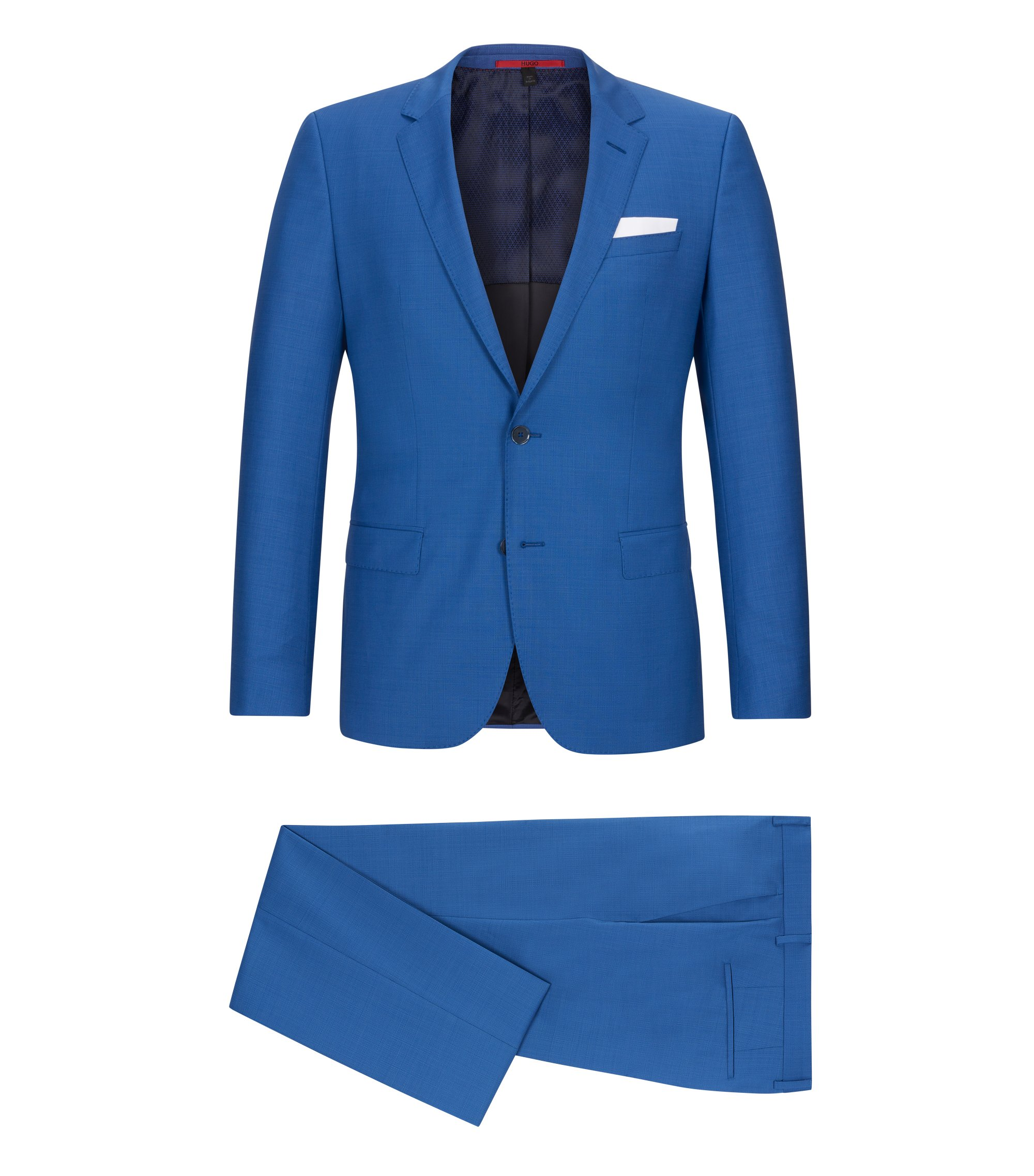 Basketweave Virgin Wool Suit, Slim Fit | C-Hutson/C-Gander, Open Blue