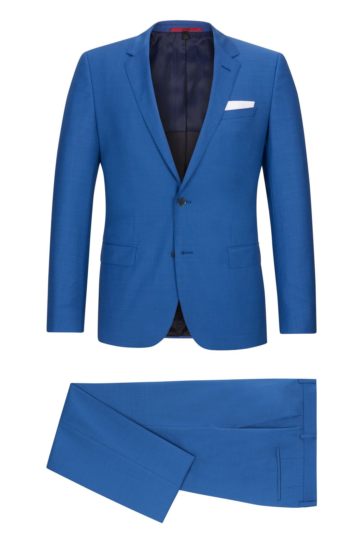 Basketweave Virgin Wool Suit, Slim Fit   C-Hutson/C-Gander, Open Blue