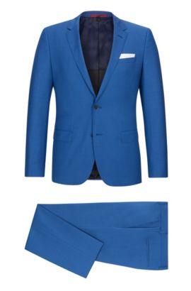 Basketweave Virgin Wool Suit, Slim Fit | C-Hutson/C-Gander, Open Blue