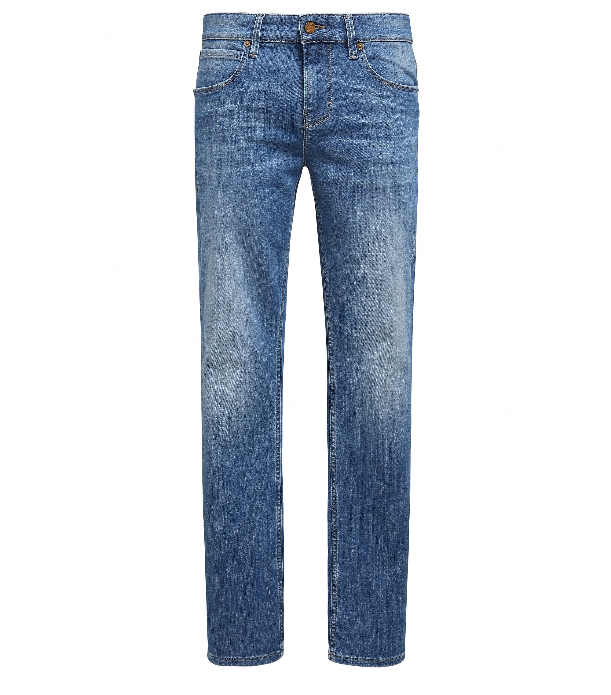 Stone Wash Stretch Cotton Jean, Slim Leg | Orange63, Blue