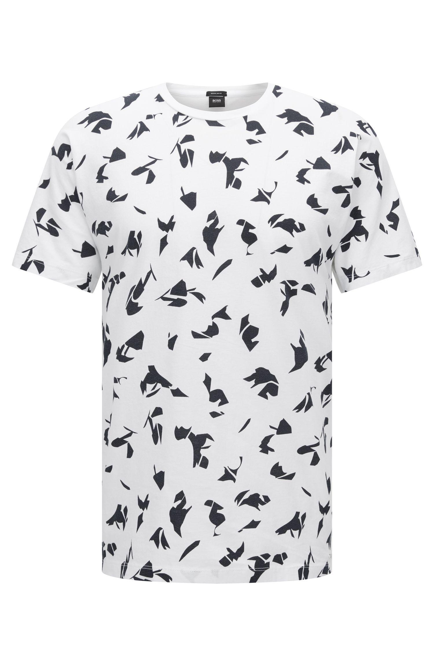 Patterned Cotton T-Shirt | Tiburt, White