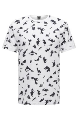 Patterned Cotton T-Shirt | Tiburt, White