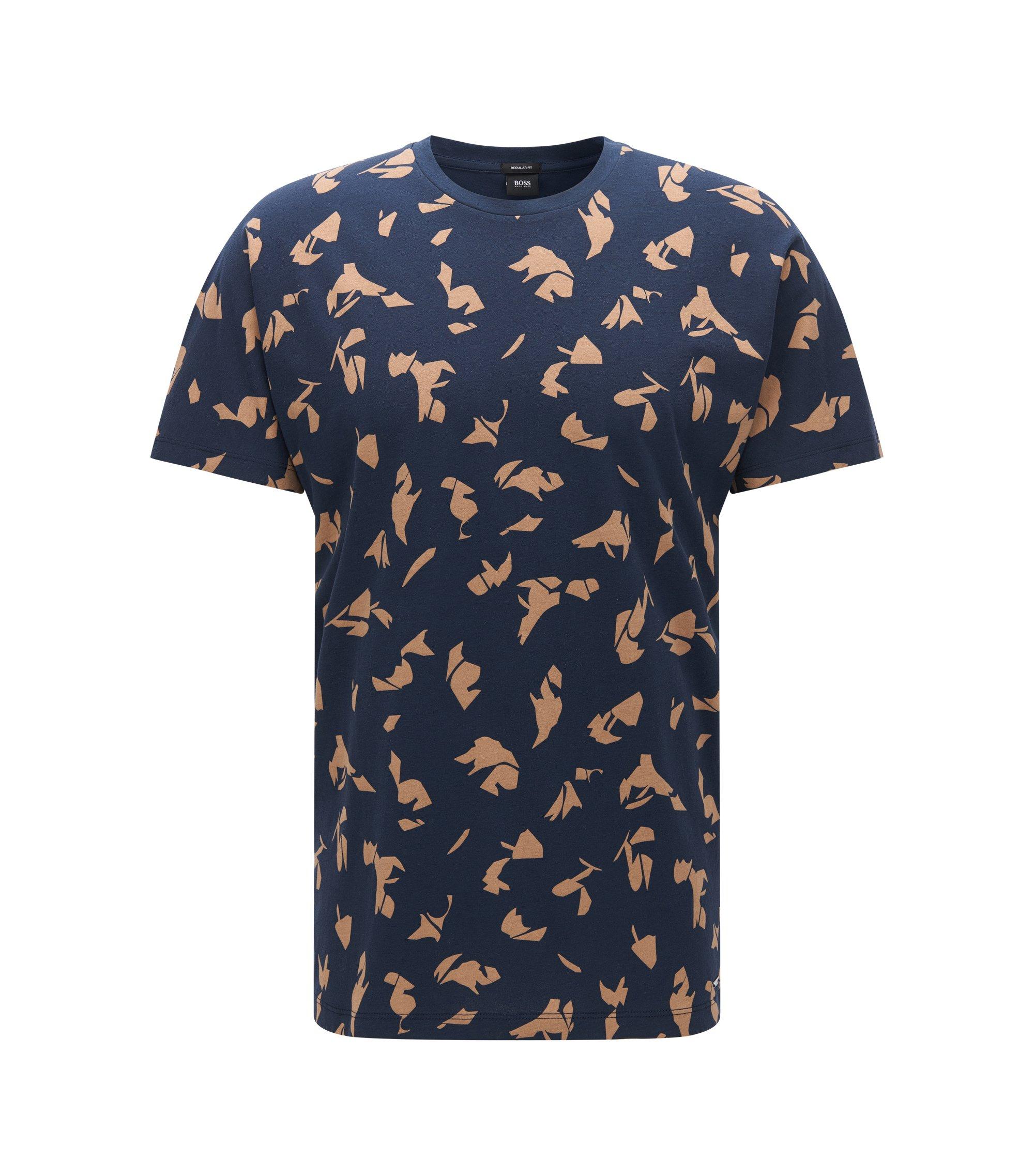 Patterned Cotton T-Shirt | Tiburt, Dark Blue