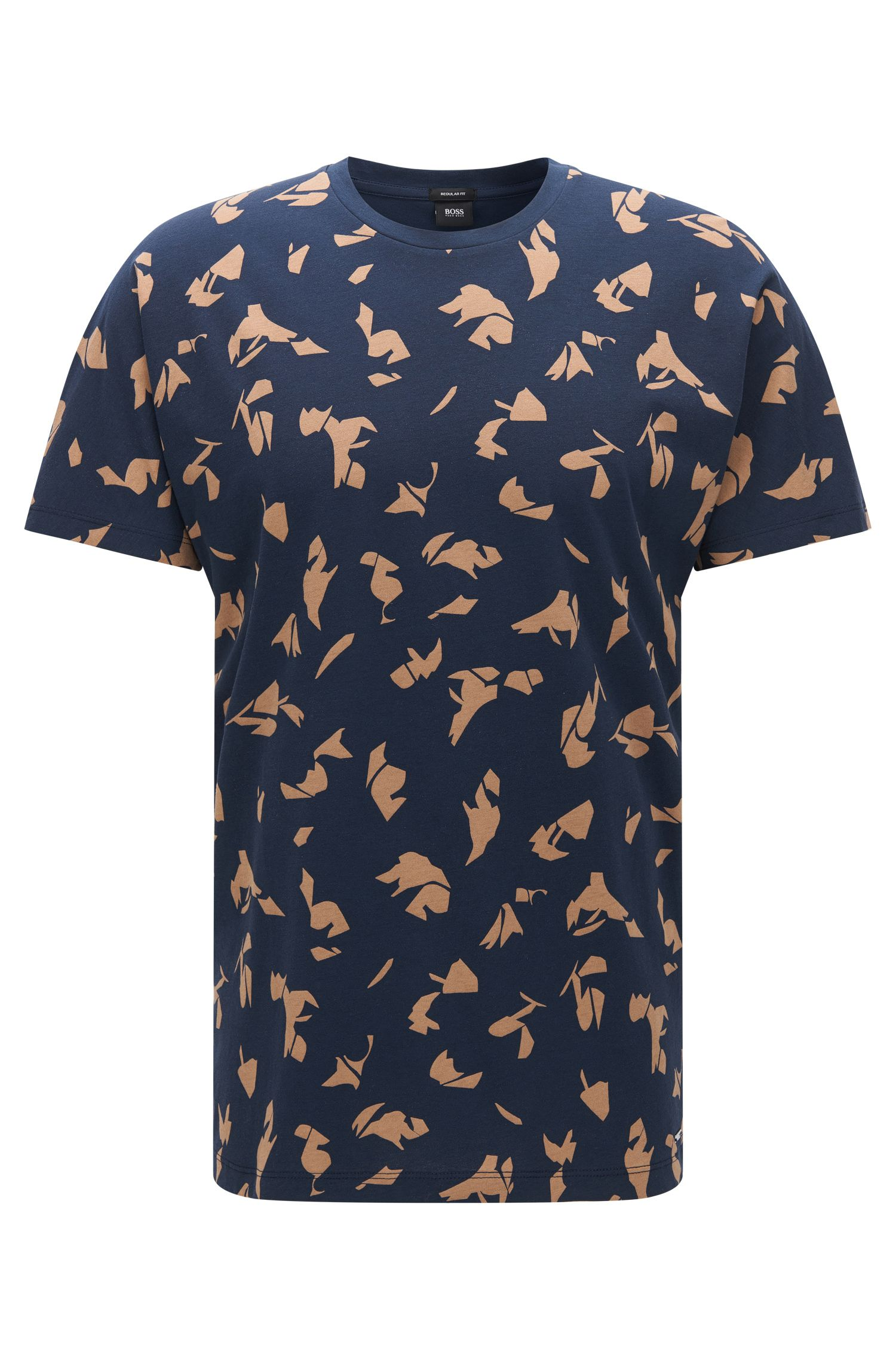 Patterned Cotton T-Shirt | Tiburt, Dark Blue