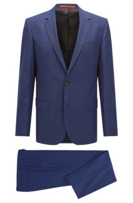 'C-Huge/C-Genius' | Slim Fit, Nailhead Italian Extra-Fine Virgin Wool Suit, Open Blue