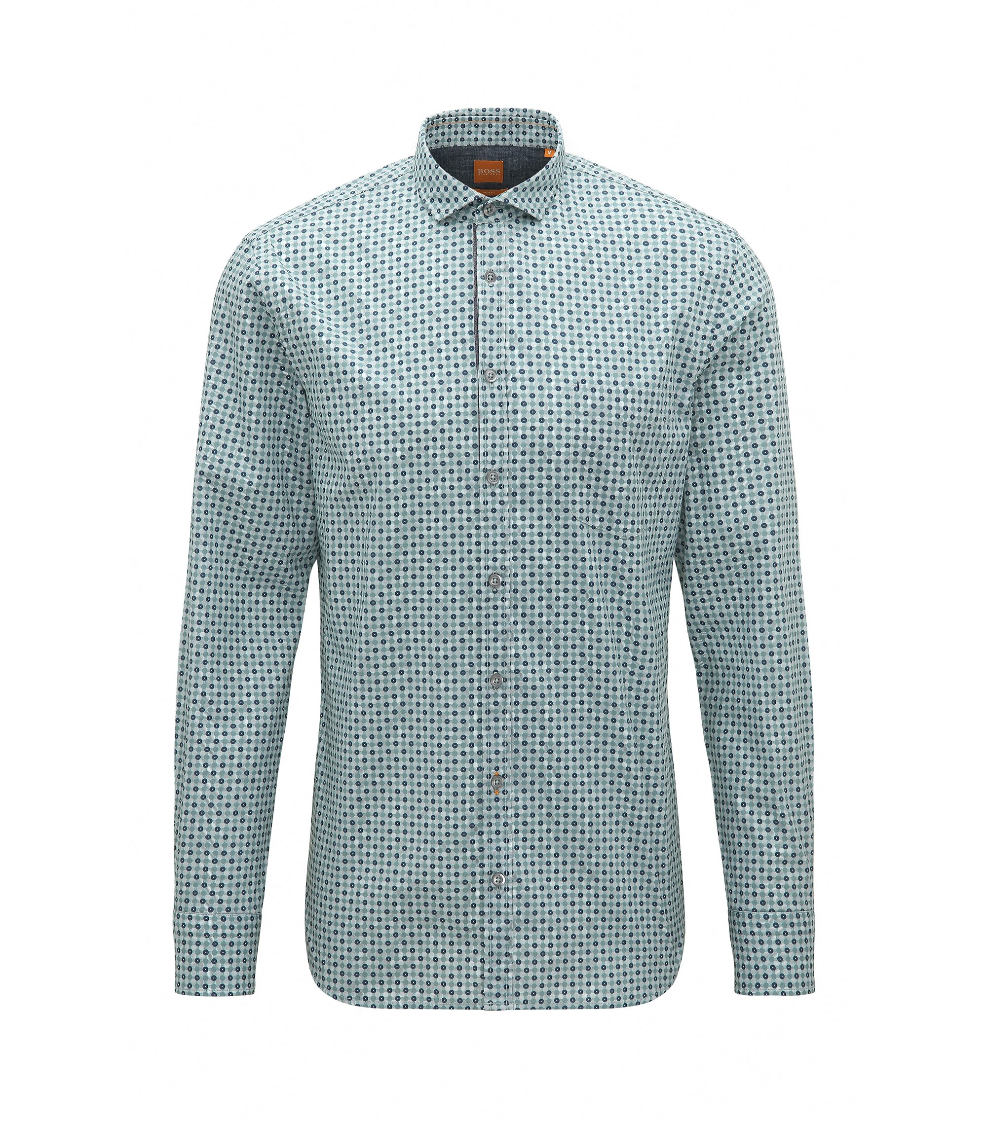 Polka Dot Cotton Sport Shirt, Slim Fit | Cattitude, Turquoise