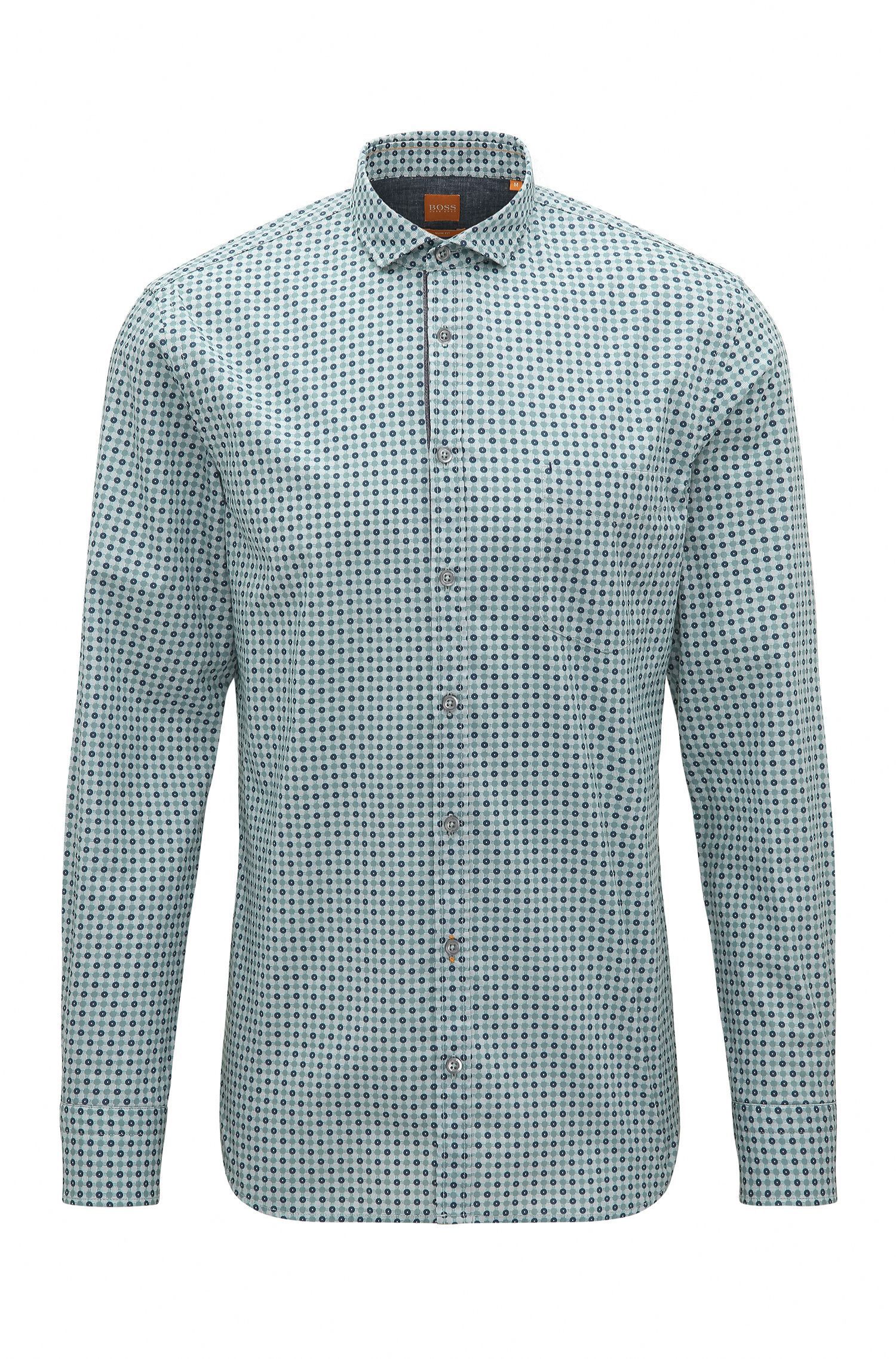 'Cattitude' | Slim Fit, Polka Dot Cotton Button Down Shirt