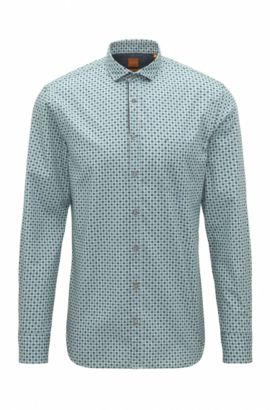 'Cattitude' | Slim Fit, Polka Dot Cotton Button Down Shirt, Turquoise