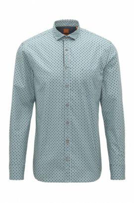 'Cattitude' | Slim Fit, Polka Dot Cotton Button Down Shirt, Turquoise