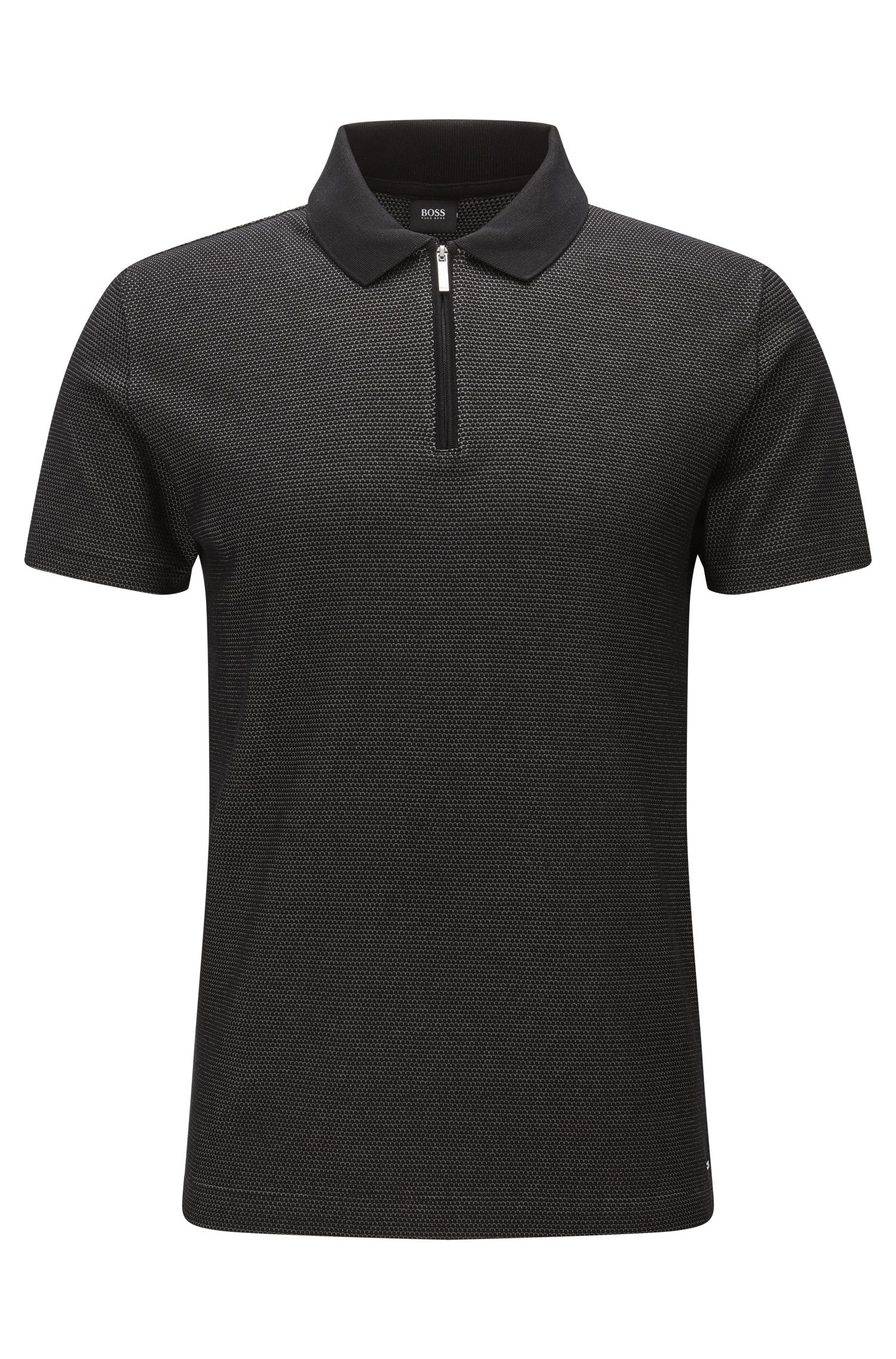 Patterned Mercerized Pima Cotton Polo Shirt, Slim Fit | Polston, Black