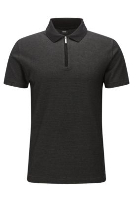 'Polston' | Slim Fit, Patterned Mercerized Pima Cotton Polo Shirt, Black