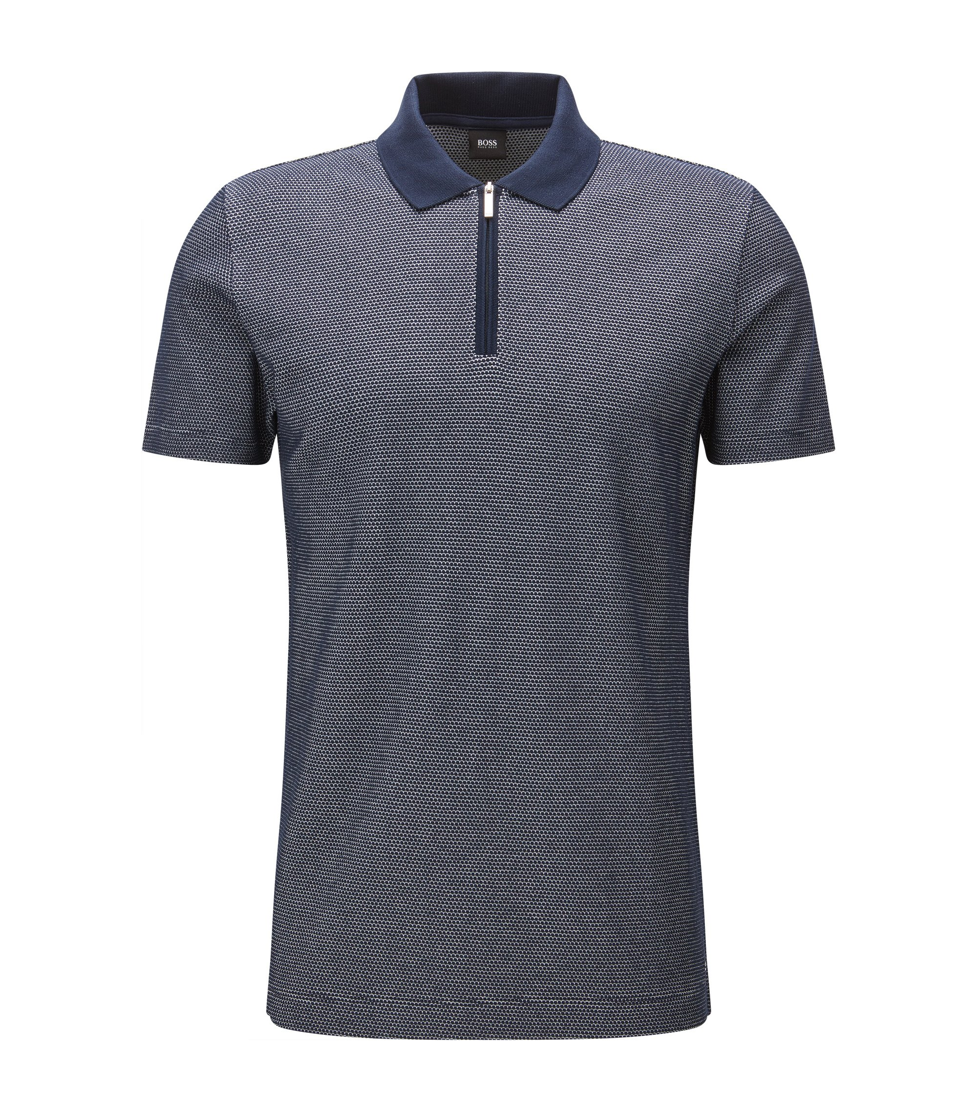 Patterned Mercerized Pima Cotton Polo Shirt, Slim Fit | Polston, Dark Blue
