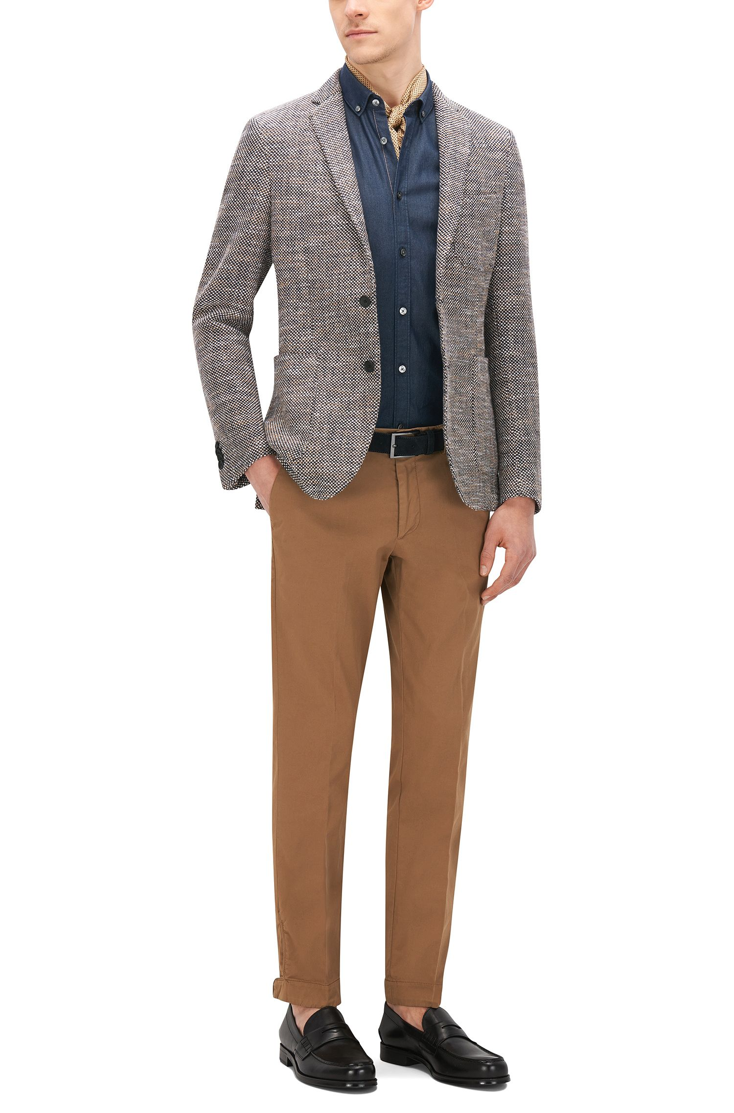 Gabardine Stretch Cotton Chino Pants, Slim Fit | Kaito Pat D, Beige