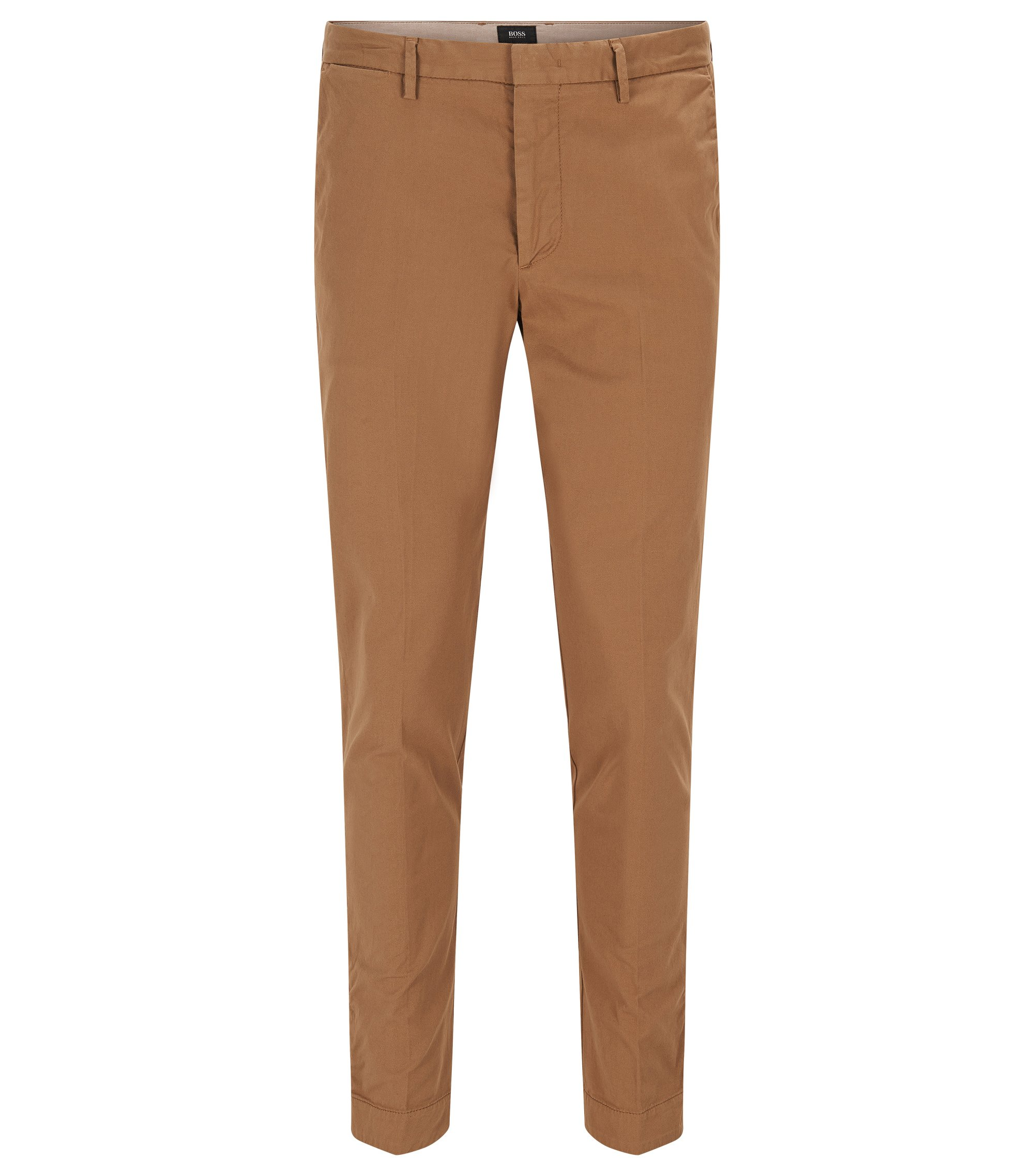 Gabardine Stretch Cotton Chino Pants, Slim Fit | Kaito Pat D, Beige